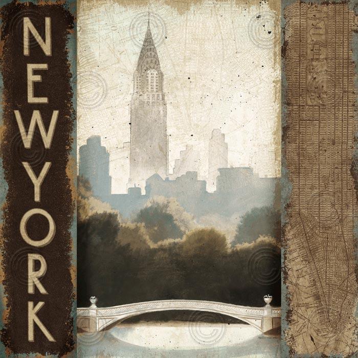 City Skyline New York Vintage Square