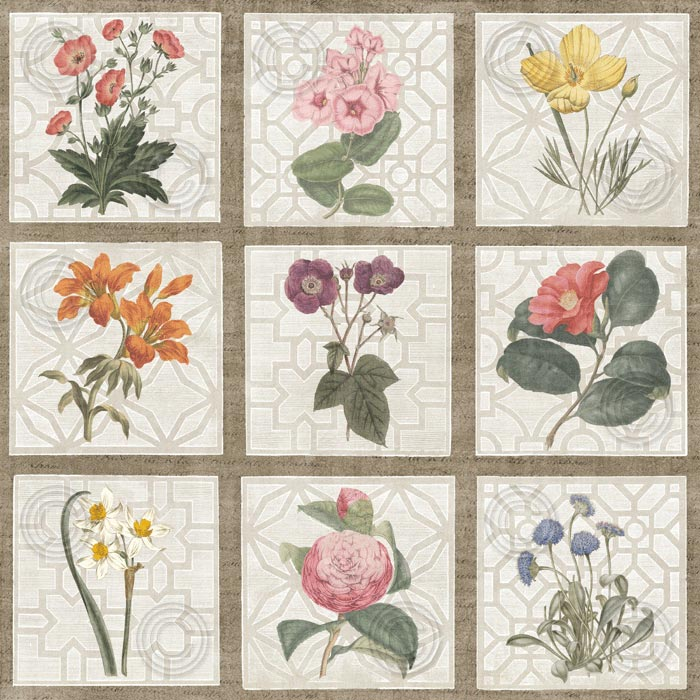 Monument Etching Tile Flowers Square II