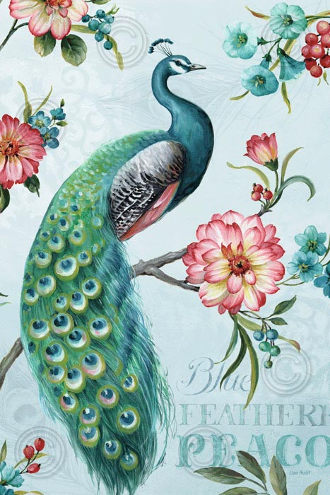 Blue Feathered Peacock I