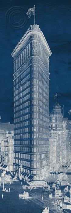Flat Iron 1909 Blueprint Panel