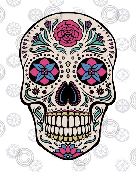 Sugar Skull on Gray