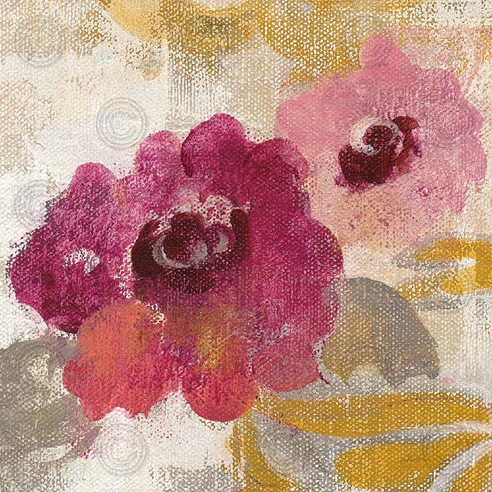Elegant Fresco Floral Gold Flower II