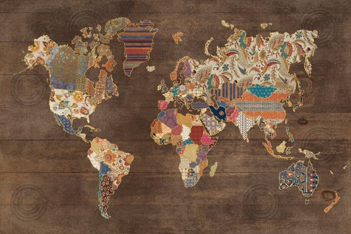 Pattern World Map on Wood