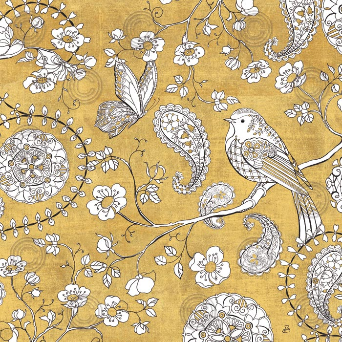 Color my World Bird Paisley I Gold